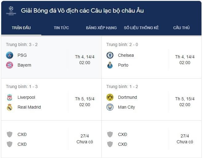 Lịch thi đấu cup C1 thường được cập nhật trước 1-2 tuần